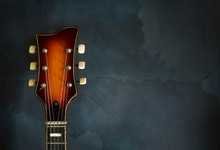 Close-up Of Headstock Old Electric Jazz Guitar
