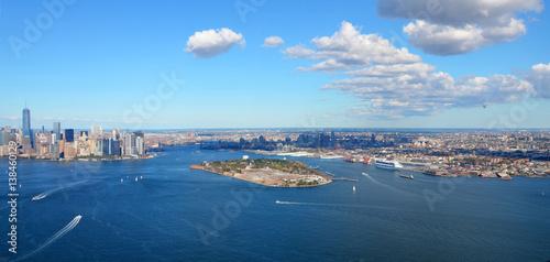 New York, USA, September 28, 2013: New York Harbor and Governors Island, Aerial Fototapet