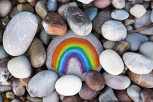 Rainbow Painted On Pebble With...