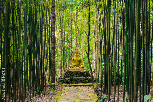 Staande foto Bamboe Buddha statue in middle of bamboo forest.