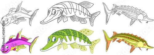 Fotografie, Obraz  Cartoon underwater animals set
