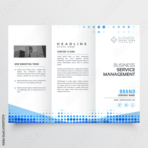 Photo clean tri-fold brochure design with abstract blue effect
