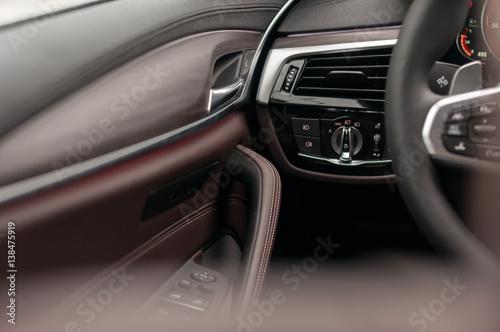 Luxury Car Interior Leather And Wood Buy This Stock Photo And
