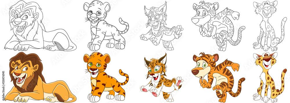Clip Art: Baby Animals: Tiger Cub (coloring page) I abcteach.com ... | 357x1000