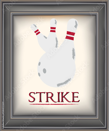 Framed retro bowling poster with pins and a bowling ball on