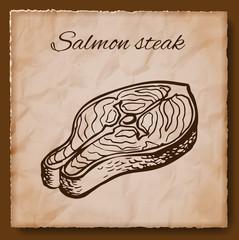Seafood vintage illustration. Template for menu or brochure with salmon steak. Vector illustration