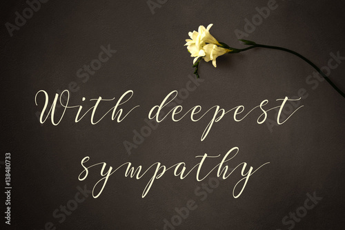 Fotomural With deepest sympathy - text with flower on a chalkboard