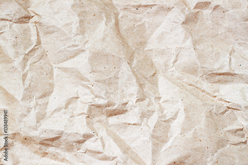 Photo  Rumpled environmental or craft paper texture background close-up