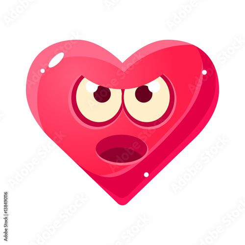 Fotografering  Angry And Annoyed Emoji, Pink Heart Emotional Facial Expression Isolated Icon Wi