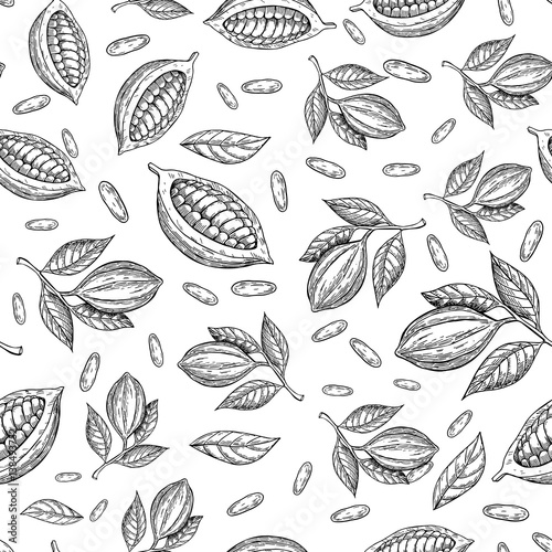 Fotografía  Cocoa branch vector seamless pattern
