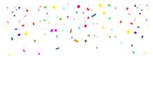 Confetti Banner For Carnival, Festival, Masquerade Poster, Invitation Design. Bright Confetti Vector Illustration.