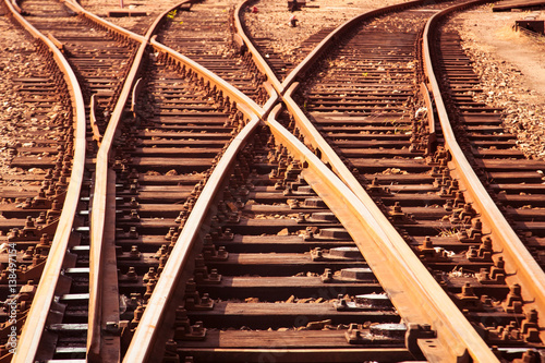 Photo Stands Railroad Cargo Railway tracks close up view