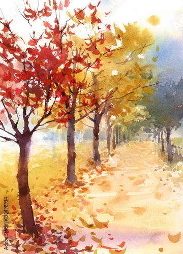 фотографія  Watercolor Fall Landscape Autumn Trees Fallen Leaves Hand Painted Illustration