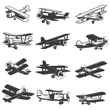 Set Of Vintage Airplanes Icons...