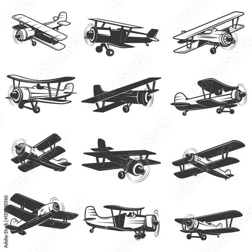set of vintage airplanes icons. Aircraft illustrations. Design element for logo, label, emblem, sign. Vector illustration. Wall mural