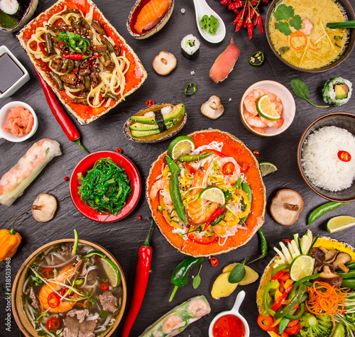 Foto op Plexiglas Japan Various of asian meals on rustic background , top view , place for text.