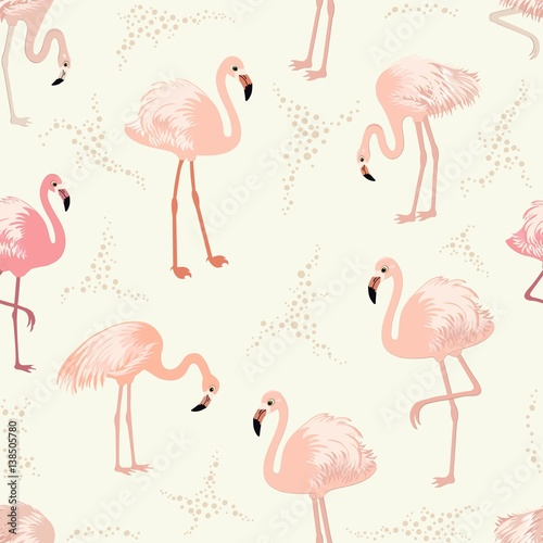 Canvas Prints Flamingo Bird Seamless pattern with pink flamingos