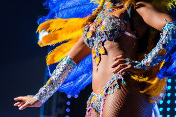 Beautiful bright colorful carnival costume dark background. samba dancer hips carnival costume bikini feathers rhinestones
