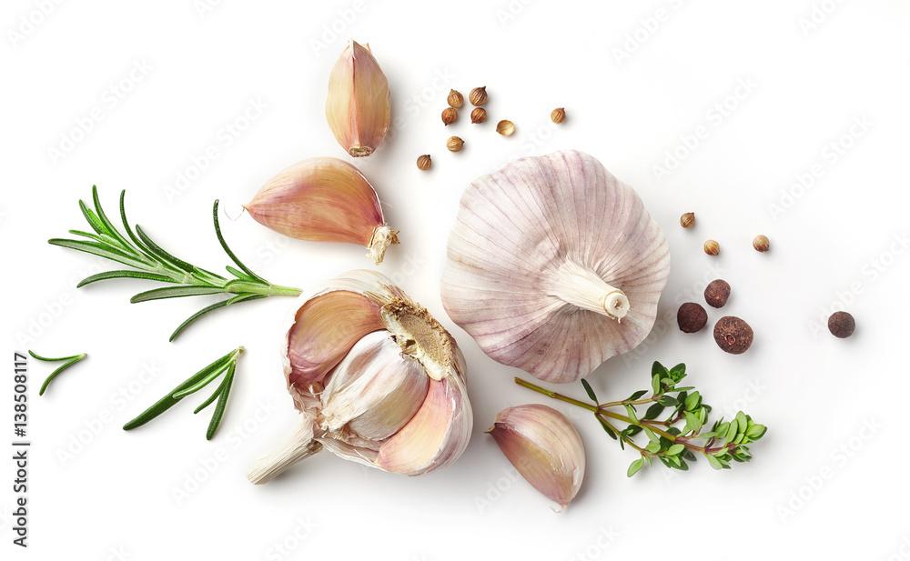 Fototapety, obrazy: garlic and herbs on white background
