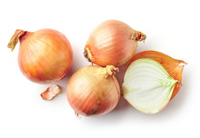 Fresh Raw Onions On White Background
