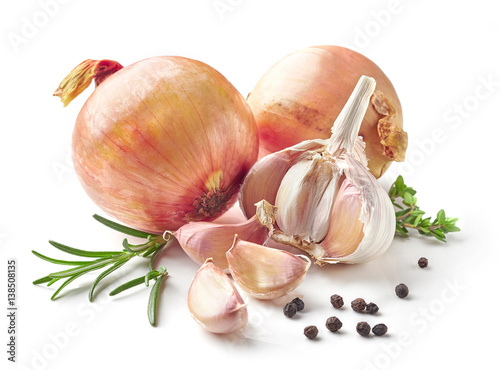 onions, garlic and spices