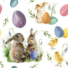 Watercolor Easter Pattern With Rabbit And Chick. Holiday Ornament With Bunny, Bird, Colored Eggs And Snowdrops Isolated On White Background. Nature Illustration For Design Or Fabric.