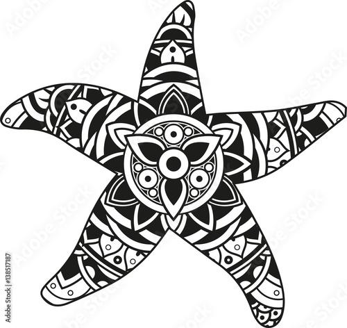 Obraz na płótnie Vector illustration of a mandala starfish silhouette