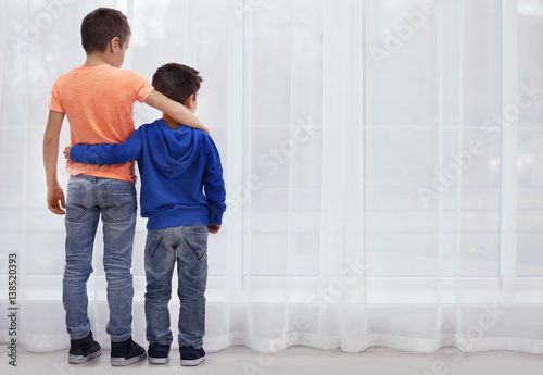 Little brothers standing together near window at home Canvas Print