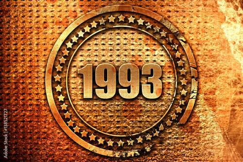 Poster  1993, 3D rendering, metal text