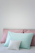 Blank soft pillow on bed