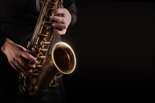 Saxophone Player Saxophonist Playing Jazz Music Instruments
