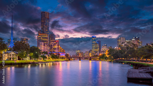 In de dag Australië Melbourne. Panoramic image of Melbourne, Australia during summer sunset.