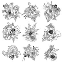 Flowers. Set Of 9 Bouquets. Floral Collection With Various Plants. Poppy, Roses, Sunflower, Aster, Chamomile. For Wedding And Women Day Cards Design Purpose. Hand Drawn Illustration, Vector.