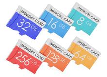 Set Of Memory Cards, 3D Rendering