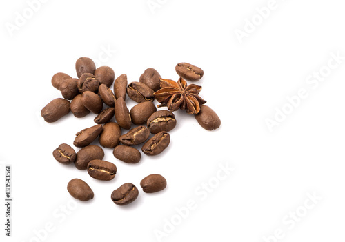 Deurstickers koffiebar Coffee beans and spices scattered on white, food photo