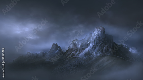 Fotobehang Bergen High mountain pass in dramatic misty atmosphere