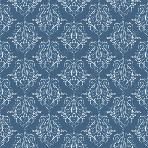 Seamless Pattern Background With Blue And White Classic