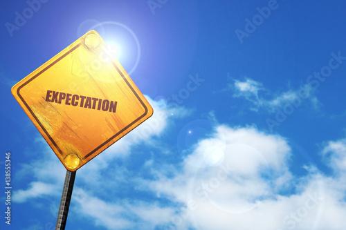 Fotografie, Obraz  expectation, 3D rendering, traffic sign