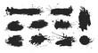 Black ink spots set on white background. Ink illustration.