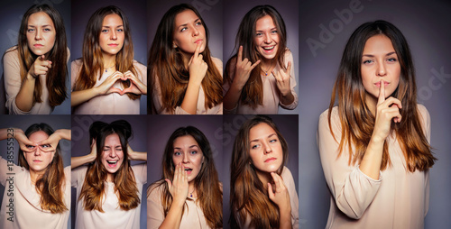 Fotografie, Tablou  emotions, set, girl, young, many, one, happy