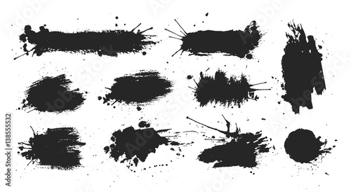 Black ink spots set on white background. Ink illustration.