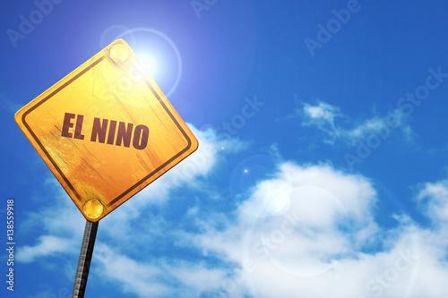 Fotografie, Obraz  el nino, 3D rendering, traffic sign