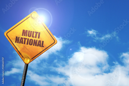 Fotografija  multinational, 3D rendering, traffic sign