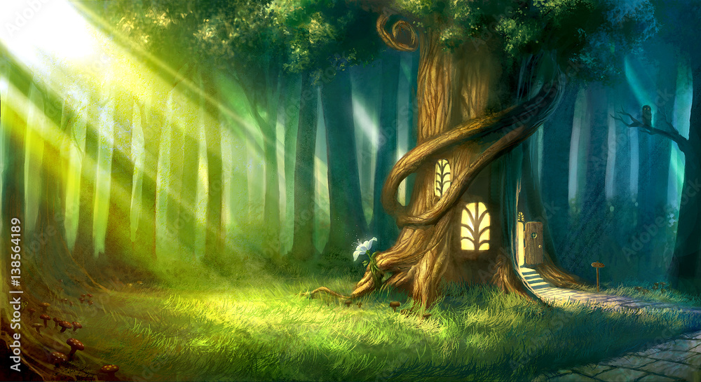 Fototapeta digitally painted magic forest with tree house