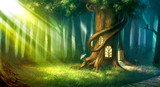 digitally painted magic forest with tree house