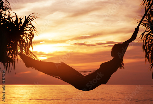 Printed kitchen splashbacks Artist KB Portrait of a young, attractive woman watching a sunset