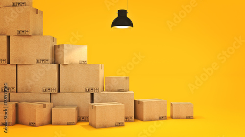 Fotografiet  New home concept. Boxes in empty room 3D