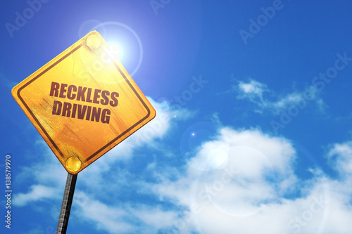 Fotografie, Obraz  reckless driving, 3D rendering, traffic sign