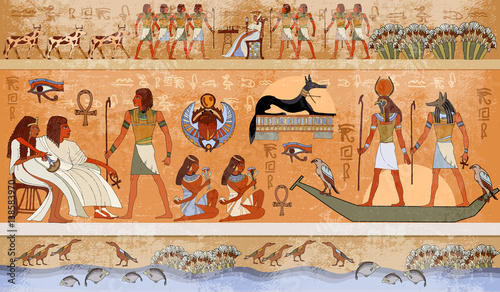 Fotografie, Obraz  Ancient Egypt scene, mythology. Egyptian gods and pharaohs
