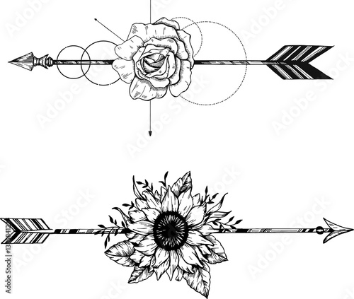 Foto auf AluDibond Boho-Stil Beautiful boho elements . arrows, feathers and flowers set